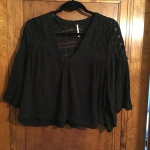 FREE PEOPLE Flare top bell sleeves lace inserts M